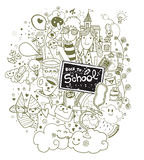 Hand drawn Back to school doodle set Stock Photo