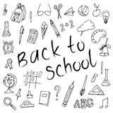 Hand drawn back to school doodles.  Paper Background. Vector illustration. Royalty Free Stock Photos