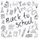 Hand drawn back to school doodles. Paper Background. Vector illustration. stock illustration