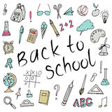 Hand drawn back to school doodles. Paper Background. Vector illustration. Hand drawing school items on a sheet of exercise book. Stock Image