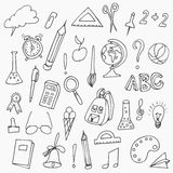 Hand drawn back to school doodles. Vector illustration of school supplies. Back to School. Royalty Free Stock Photos