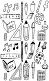 Hand drawn back to school dooldes / icons set Stock Image