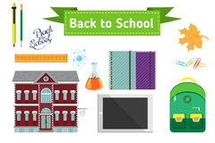 Hand drawn back to school lettering illustration with set of  supplies and computer tablet.  Royalty Free Stock Image