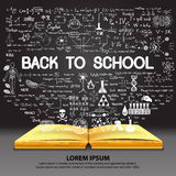 Hand drawn about BACK TO SCHOOL on opened book with chalkboard background. Royalty Free Stock Photos
