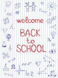 Hand drawn Back to School sketch. On notebook paper stock illustration