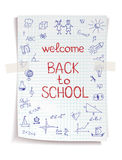 Hand drawn Back to School sketch. On notebook paper Royalty Free Stock Images