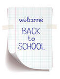 Hand drawn Back to School sketch. On squared notebook paper stock illustration