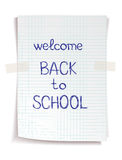 Hand drawn Back to School sketch. On squared notebook paper Stock Photo