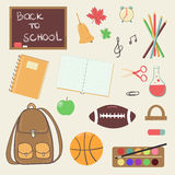 Hand drawn back to school theme cartoon design elements Royalty Free Stock Images