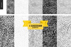 Hand drawn back and white patterns set. Handdrawn black and white patterns set. Fur or leaves seamless black and white patterns Stock Photo