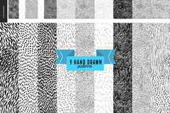 Hand drawn back and white patterns set. Handdrawn black and white patterns set. Fur or leaves seamless black and white patterns Royalty Free Stock Photography
