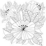 Hand drawn backdrop. Coloring book, page for adult and older children. Black and white abstract floral pattern. Design for stock images