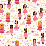 Hand drawn background with cute girls. Little princess pattern. Hand drawn background with cute girls, bows, butterfly, crown,  flowers and hearts. Funny Royalty Free Stock Images