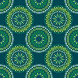 Hand drawn background with decorative elements in blue and green colors. Mandala colorful vector seamless pattern. Abstract geometric texture. Hand drawn Royalty Free Illustration