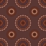 Hand drawn background with decorative elements in brown and beige colors. Mandala colorful vector seamless pattern. Abstract geometric texture. Hand drawn Stock Illustration