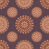 Hand drawn background with decorative elements in brown and beige colors. Mandala colorful vector seamless pattern. Abstract geometric texture. Hand drawn Vector Illustration
