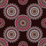 Hand drawn background with decorative elements in brown, red and beige colors. Mandala colorful vector seamless pattern. Abstract geometric texture. Hand drawn Royalty Free Illustration