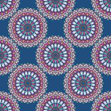 Hand drawn background with decorative elements in pink and blue colors. Mandala colorful vector seamless pattern. Abstract geometric texture. Hand drawn Royalty Free Illustration