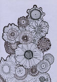 Hand drawn background with decorative flowers Stock Images