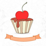 Hand drawn background of doodle style cupcakes Royalty Free Stock Image