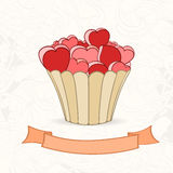 Hand drawn background of doodle style cupcakes Royalty Free Stock Images