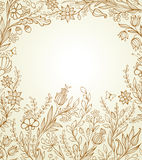 Hand drawn background with flowers Stock Image