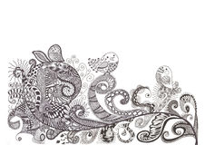 Hand drawn background with flowers, patterns and Stock Photography