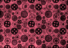 Hand drawn background with gear wheel.Abstract black and red grunge background with mechanism of watch. Royalty Free Stock Photos