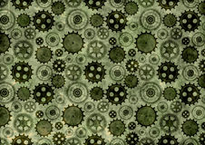 Hand drawn background with gear wheel.Abstract green grunge background with mechanism of watch. Stock Photo