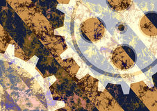 Hand drawn background with gear wheel. Abstract grunge background with mechanism of watch. Stock Photos