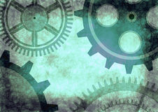 Hand drawn background with gear wheel. Abstract grunge background with mechanism of watch Royalty Free Stock Photos