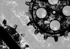 Hand drawn background with gear wheel. Abstract grunge background with mechanism of watch. Royalty Free Stock Image