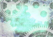 Hand drawn background with gear wheel in blue colors. Stock Photos