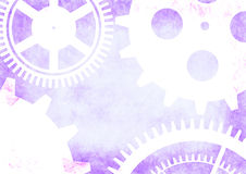 Hand drawn background with gear wheel in blue and white colors. Abstract grunge background with mechanism of watch Stock Image