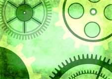 Hand drawn background with gear wheel in green colors. Stock Images