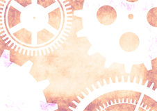 Hand drawn background with gear wheel in pink colors. Stock Photos