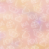 Hand drawn background with hand drawn gifts, cake, candy on the watercolor pink backdrop. Series of Cartoon, Doodle, Sketch and Hand drawn Seamless Patterns Stock Photo