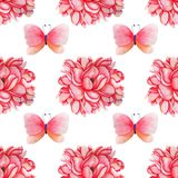 Hand drawn Watercolor magnolia and butterfly seamless pattern for card making, paper, textile and printing vector illustration