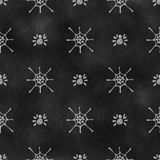 Hand drawn background with insects, symmetrical background with  spiders and spiders web on the black chalkboard Stock Photo