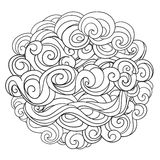 Hand drawn background with linear twirl pattern. Template for design  Royalty Free Stock Photo