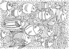 Hand drawn background with many fishes in the water. Sea life design for relax and meditation.