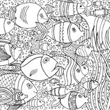 Hand drawn background with many fishes in the water. Sea life design for relax and meditation. Stock Images