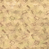 Hand drawn background with notebooks, pens, pencils, glasses and books on the beige checkered paper Royalty Free Stock Photos