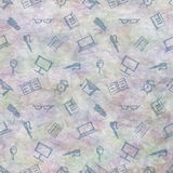 Hand drawn background with notebooks, pens, pencils, glasses and books on the blue checkered paper Stock Image