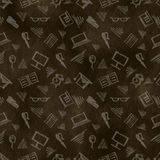 Hand drawn background with notebooks, pens, pencils, glasses and books on the brown chalkboard. Hand sketch drawing. Series of Hand Drawn Patterns vector illustration