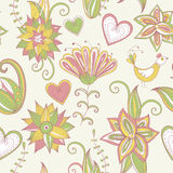 Hand-drawn background. Seamless floral pattern. Royalty Free Stock Photography