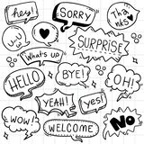 Hand drawn background Set of cute speech bubble eith text in doodle style royalty free illustration