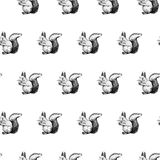 Hand drawn background with squirrel. Vector seamless pattern. Royalty Free Stock Photos