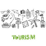 Hand drawn background with summer holiday elements. Tourism vector wallpaper with doodle signs collection Royalty Free Stock Images