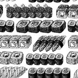 Hand drawn background with sushi and rolls. Vector seamless pattern. Vintage style. Linear graphic design. Black and white Japanese rolls. Vector illustration Stock Image
